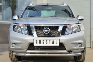 Nissan Terrano 2014-  Защита переднего бампера d63 (секции) d42 (дуга) декор-паз NTRZ-001781